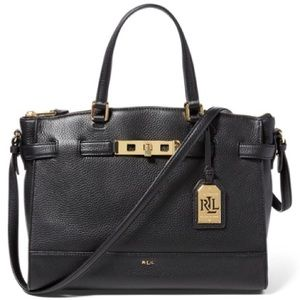Lauren Ralph Lauren Black Leather Darwin Satchel
